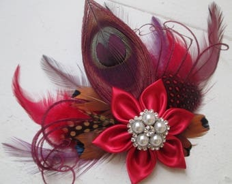 Plum & Red Peacock Wedding Hair Fascinator, Red- Burgundy and Purple Bridal Feather Head Piece, Birdcage Wedding Veil, Rustic, Country Bride