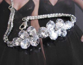 Wedding Bracelet, Rose Gold Tone Cubic Zirconia Bracelet, Bridal Bracelet, Bracelet, Rose Gold, Rhinestone Jewelry, Bridal Jewelry