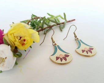 Vintage Enamel Drop Dangle Earrings 80's / 90's Floral Fan