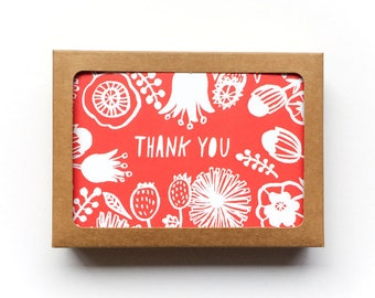 Holiday Thank You Card Set of 12, Christmas Thank You Card, Flower Greeting Cards, Line Drawing, Handlettered Thank You Cards, 3.5x5, Kraft