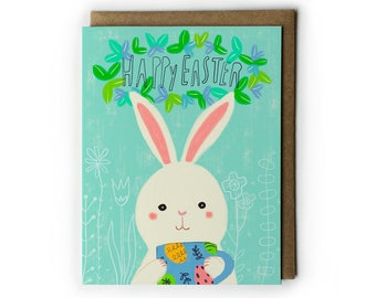 Easter Greeting Cards, Easter Bunny Greeting Card, Easter Eggs Painting, Cute Easter Card, Happy Easter, Folded Notecard, A2, 4.25x5.5