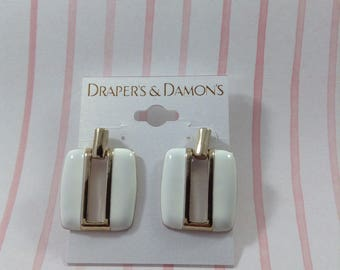 White Dangle Pierced Earrings