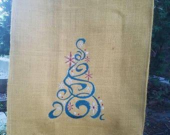 Christmas burlap garden flag - embroidered filigree tree
