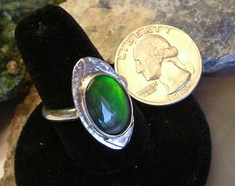 Bright Green with Minor Amounts of Yellow and Copper Fire Gem Ammolite Found in Utah Deposit, .925 Sterling Silver Ring Size 10 1/2 688
