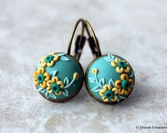 Lovely Polymer Clay Applique Statement Earrings in Teal and Yellow