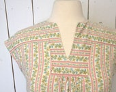 FIRE SALE 25% Off Cap Sleeve Blouse 1960s Hippie Vintage Floral Striped Top Pink White Folk Peasant Style Small Medium