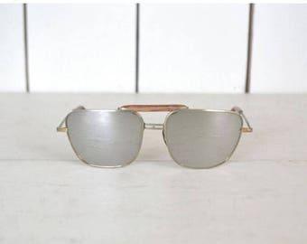 34% Off Sale - Mirror Lens Sunglasses 1960s Square Aviator Vintage Retro Pilot Tortoise Shell Gold Tone Metal Sunglasses