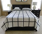 modern graphic quilt, grid pattern, black and white quilt, patchwork, large patchwork, bed quilt, quilt, quilted