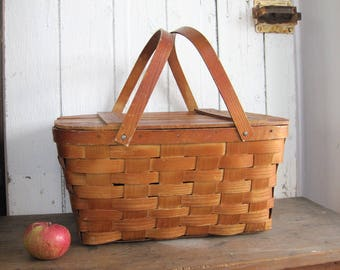 Wood Picnic Basket Woven Split with Lid WOV-N-WOOD by Jerywil Wooden Bent Wood Handles 1940's Beach Toy Storage Market Wedding Basket