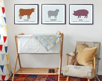 Nursery Prints, Farm Animal wall art, Baby nursery decor, set of three Animal prints, Modern Nursery art, Prints for baby