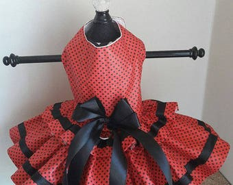Dog Dress  Red with Black polkadot with trim