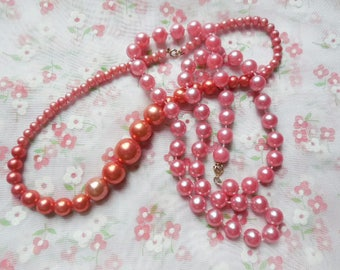 """Peach Pink and Salmon Pink Bead Necklace Pair, 2 VTG Faux Pearl Necklaces 17"""" Coral Pink Graduated Bead Necklace , 24"""" Peach Pink Necklace"""