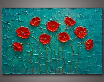 """Large 24""""x36""""x1.5"""" - Original Impasto Texture Painting on Gallery Wrapped Canvas - Abstract - Red Poppies - Ready to Hang - FREE SHIPPING!"""