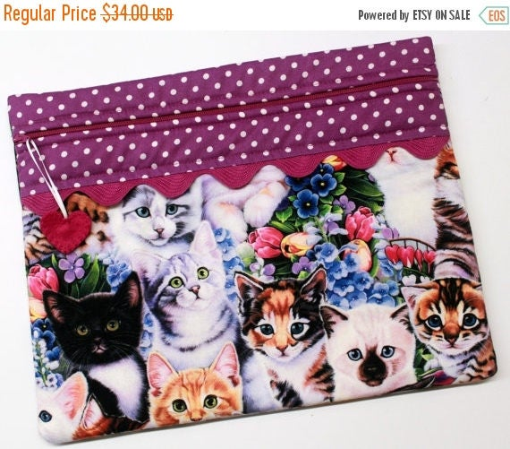 SALE Spring Kittens Cross Stitch Embroidery Project Bag