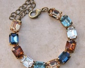 SALE NEW Sapphire Navy Blue Topaz Tennis Link Bracelet,Vintage Swarovski Rhinestone Crystal Bracelet,Octagon Rectangle,Emerald Cut Jewel,Gif