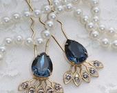 SALE NEW Navy Sapphire Blue Crystal Hair Fork,Golden Bridal Hair Stick,Swarovski Rhinestone Crystal,Champagne or Crystal Clear,Jeweled Hair
