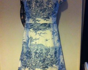 short sleeves dress cut retro toile de jouy T.42 fabric
