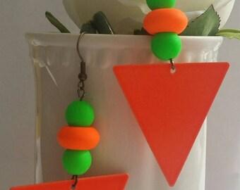 orange neon triangle earrings