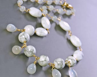 Howlite, Moonstone Necklace by Agusha. White Gemstone and Silver Necklace. White Moonstone Neckalce