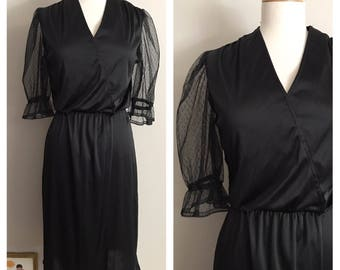 70s Black Dress with Lace Sleeves