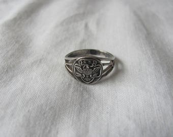 Sterling Silver Girl Scout Ring Edwardian Signed Ostby Barton Titanic Era Trefoil & Signet Jewelry Size 6.5