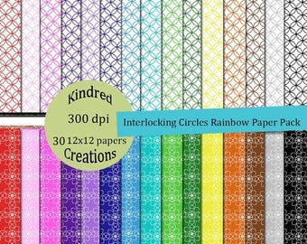 ON SALE Interlocking Circles Pattern Rainbow Digital Paper Pack 300 dpi 12x12 30 papers For Personal or Small Business Use