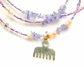 Ghanian Waist Beads, Tanzanite Adinkra High Vibration Waist Beads, Lavender Duafe Waist Beads, Tanzanite Waist Beads, Spiritual Belly Chain