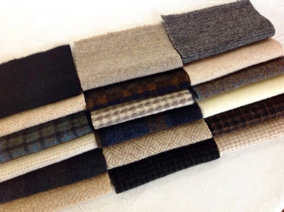 Light and Dark Applique Wool, 18 pieces, W422,  Textures, Plaids, Solids, Checks, Wool Charm Pack, Felted wool fabric