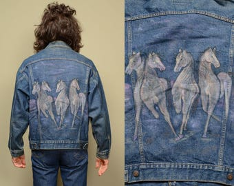 vintage painted jean jacket Levis denim jacket 1980 80s glitter fantasy horse jacket Levi's trucker jacket USA medium M