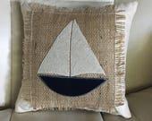 Sailboat Pillow  // Burlap Pillow // Beach Decor // Coastal Decor // Nautical Decor