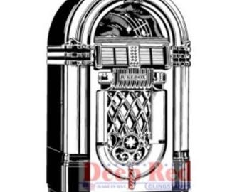 Deep Red Rubber Stamp Retro Vintage Style Jukebox Music Player