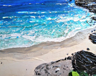 ocean painting, beach artwork, acrylic painting, landscape painting, ocean waves, original paintings, small paintings