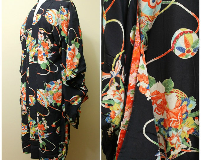 Japanese Furisode Juban, Nagajuban. Silk. Black Red Green Blue Multi Floral (Ref: 1788)