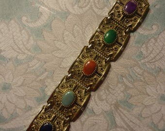Vintage Sarah Coventry Etruscan Style Antique Gold Tone Link Bracelet with Faux Gemstones, Fold Over Clasp, 7 5/8""