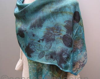 Hand dyed silk scarf, hand printed silk georgette shawl, botanical print scarf, one of a kind bohemian art scarf, artistic handprinted scarf