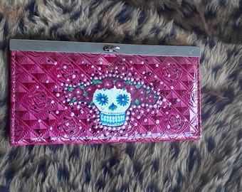 Rose Day of the dead wallet/clutch