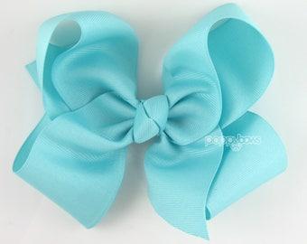 """Extra Large Hair Bow, Aqua Blue Hair Bow, 6"""" 6 inch hair bows, big bow, giant bow, extra large bow, jumbo light blue, Girls Hair Bow xl"""