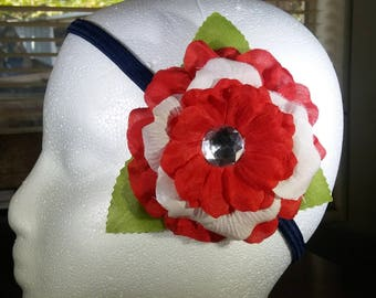 Simple Red and White Hair Flower