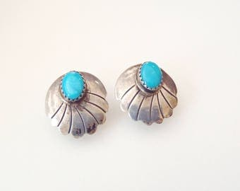 Vintage Sterling Silver Post Earrings Signed Tony Guerro—Shell Motif Studs by Navajo Diné Master Silversmith Deep Blue Turquoise Cabs 1970s