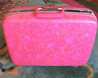 Vintage Hot Pink Samsonite 1960's Suitcase, Marble Pink Hard Shell