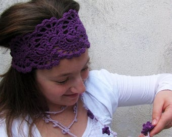 ON SALE 15 % SALE Hairband - Hand Crochet Hairband - Bandana - HeadBand- Hair Wrap