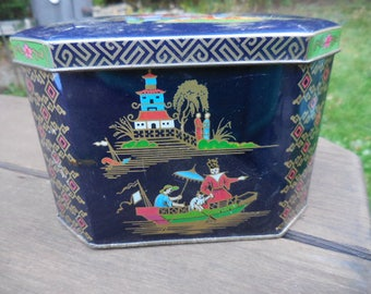 Vintage 1960s to 1970s Tin Designed by Daher Blue Metal Made in England Asian Inspired Hinged Tin Container Retro Display/Decor
