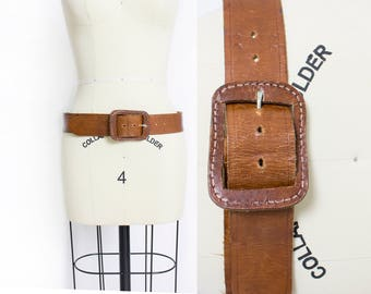 Vintage 1970s Leather Belt - Tooled Brown Boho Leather Buckle - Medium / Large