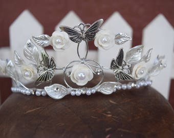 Butterfly Princess Crown, Ivory crown, Ivory headpiece, butterfly crown, wedding tiara