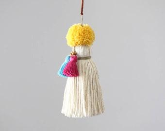 Boho Pom Pom Tassel. Large handcrafted Key Chain. Multi color, rainbow. Pom Pom Zipper Charm, Bag Charm. Tassel decor accessory.