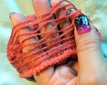 Alize Alize Dantela Ruffle Lace Yarn, 24m 100g, sashay, Ruffling, ribbon, scarf knit crochet Rumba Salsa in coral(38) mesh yarn, net DSH(Al)