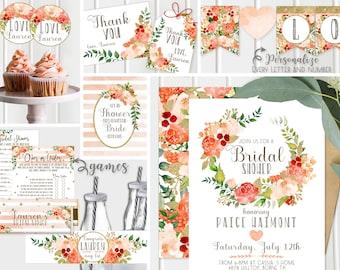 Gold Bridal Shower Invitations - Decor + Games - Peach and Gold, Bridal Wedding Shower Invites, FULL collection Floral