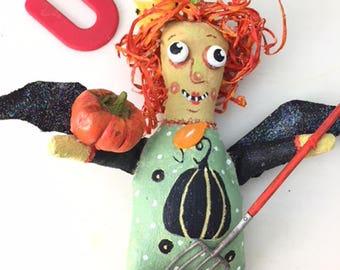 Handpainted Halloween Art Doll A Garden Witch to Bless Your Garden
