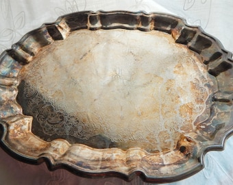 Vintage Silver Footed Platter, Silver Serving Tray