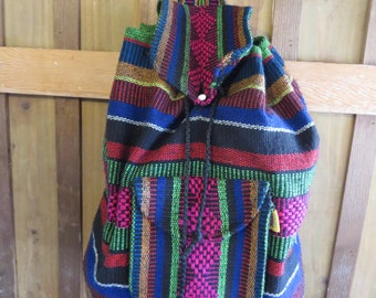 Vintage Boho Woven Backpack Mexico
